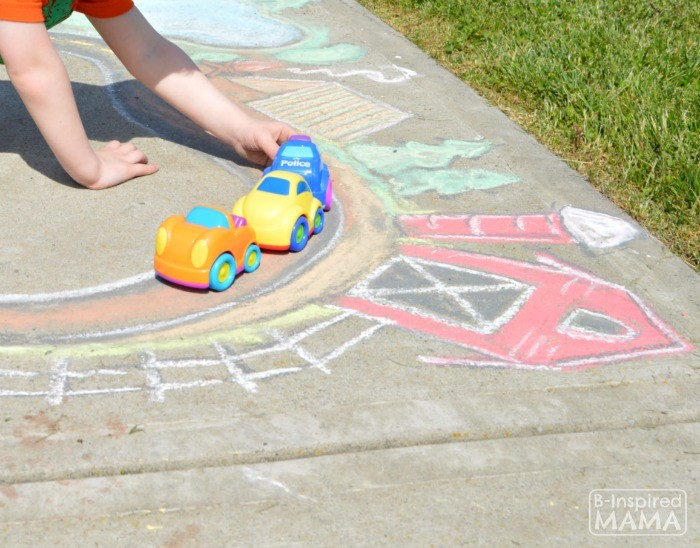 Fun Summer Sidewalk Chalk Art for Kids to PLAY In - Our GIANT Sidewalk Chalk Town and Roadway - at B-Inspired Mama