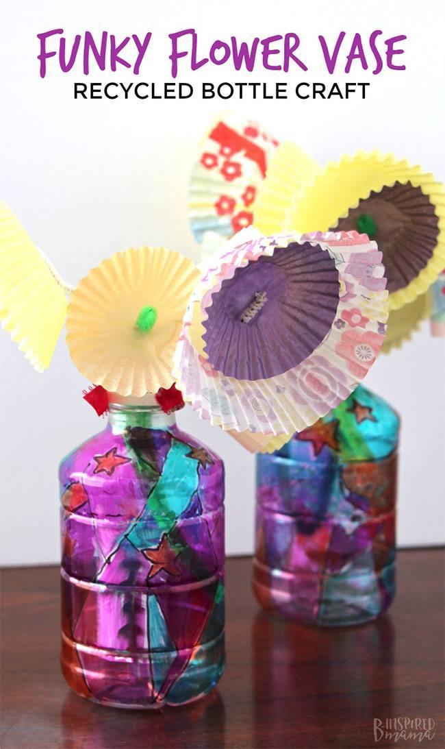 Funky Flower Vase Plastic Bottle Craft For Kids Tum E Yummies